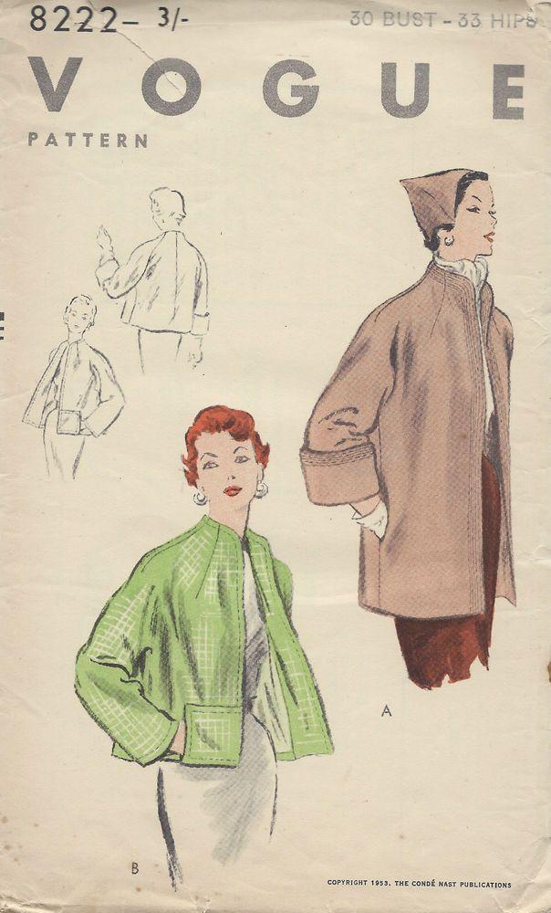"""1953 Vintage VOGUE Sewing Pattern COAT B30"""" (E1227) #Vogue"""