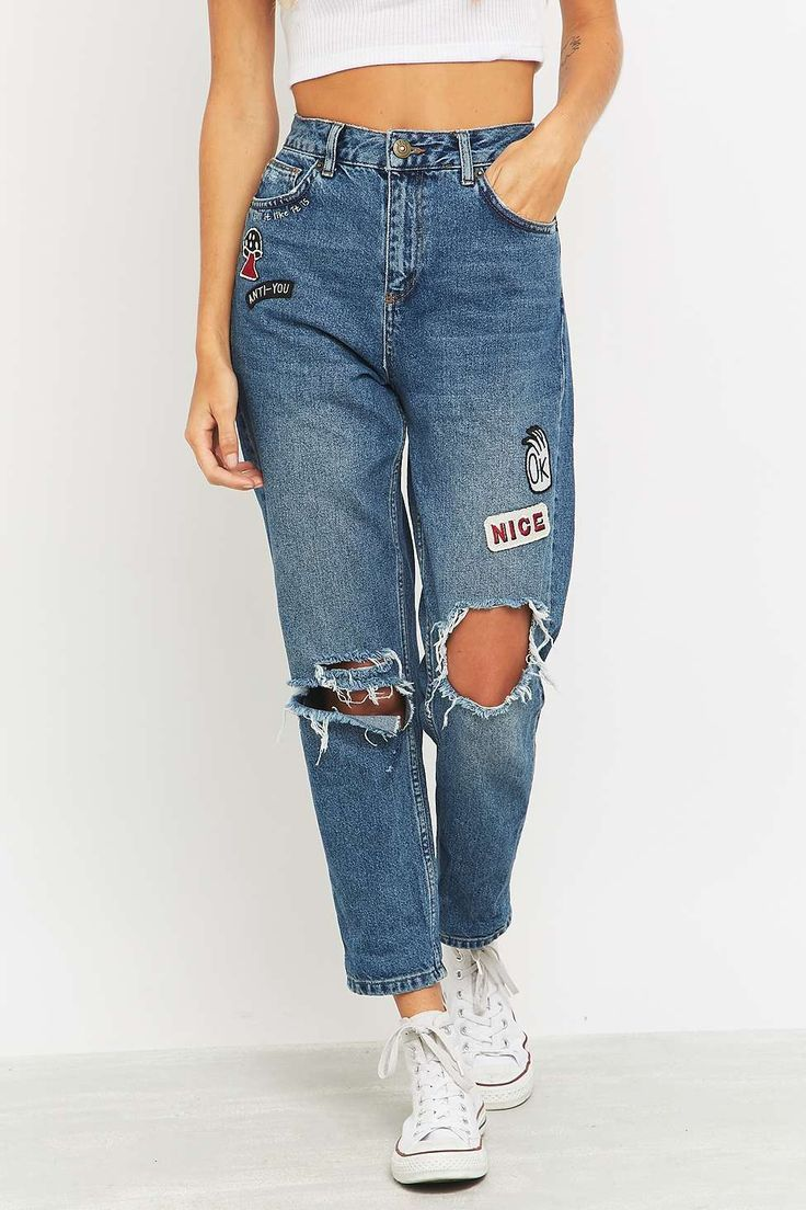 4e8ea34a19b Urban Outfitters BDG Embroidered Ripped Blue Mom Jeans
