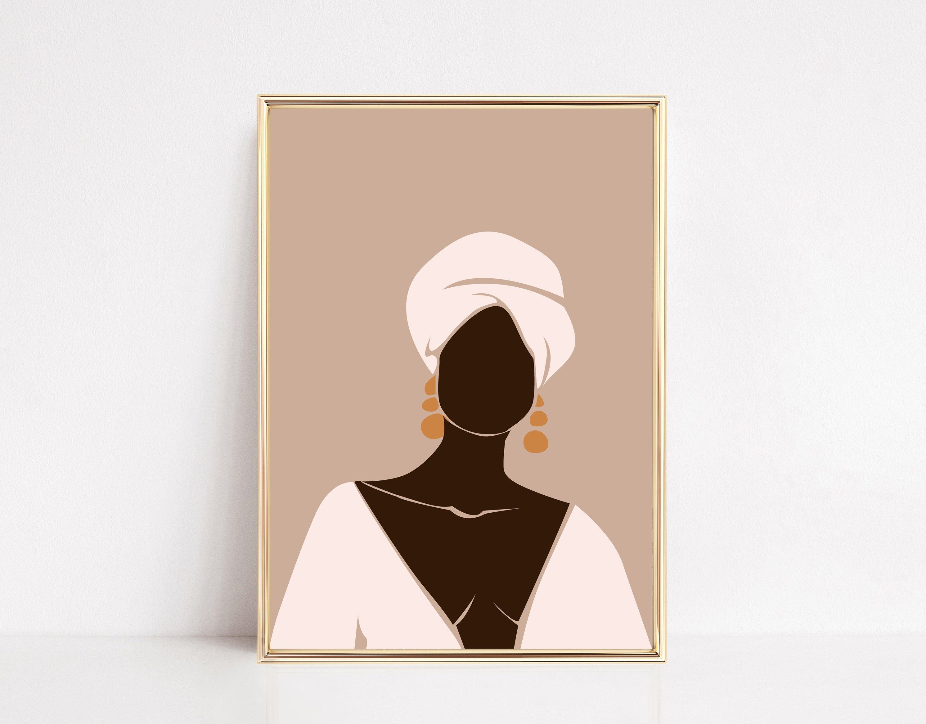 Black Woman Wall Art Instant Download Feminine Illustration African Woman Art Print Boho Girl African American Art Female Art African American Art Art African Women Art