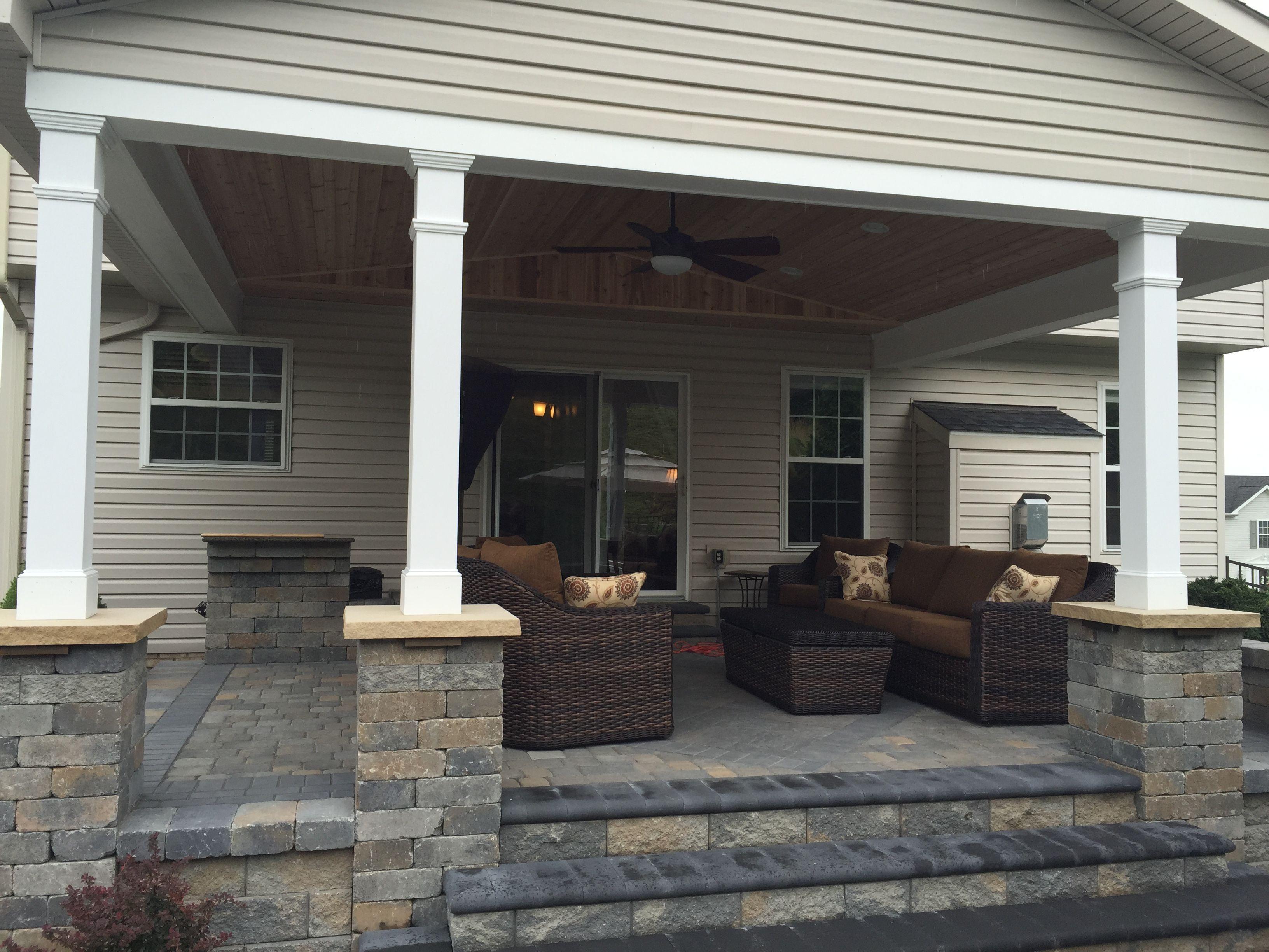 Raised paving stone patio using versa lok block with country stone