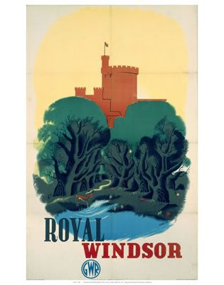 'Royal Windsor', GWR poster, 1935. Poster produced for Great Western Railway, showing Windsor Castle. Artwork by Edward McKnight Kauffer aug16