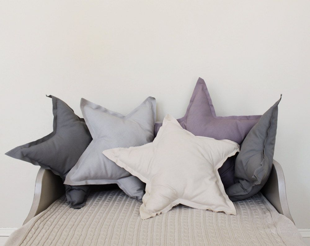 Star shaped pillow or cushion cream soft cotton by colettebream