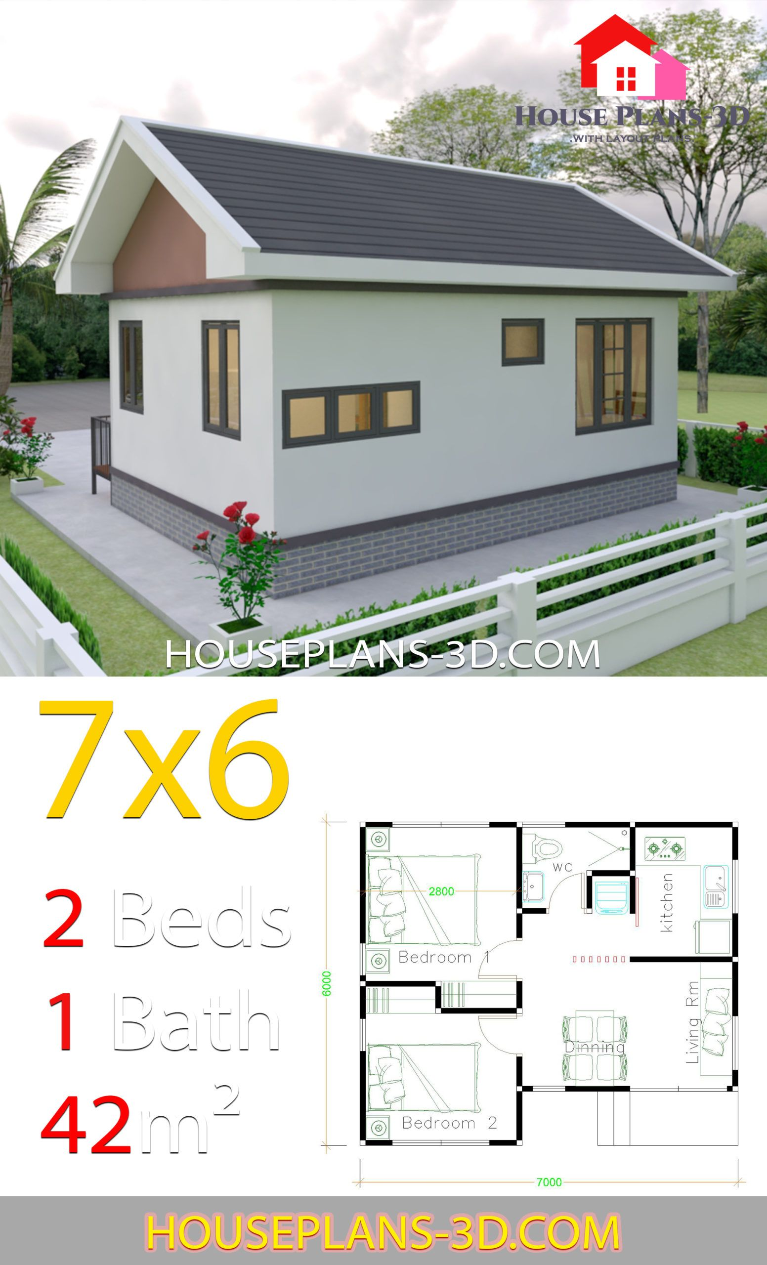 House Plans Design 7x6 With 2 Bedrooms Gable Roof House Plans 3d Gable Roof House House Plans House Roof