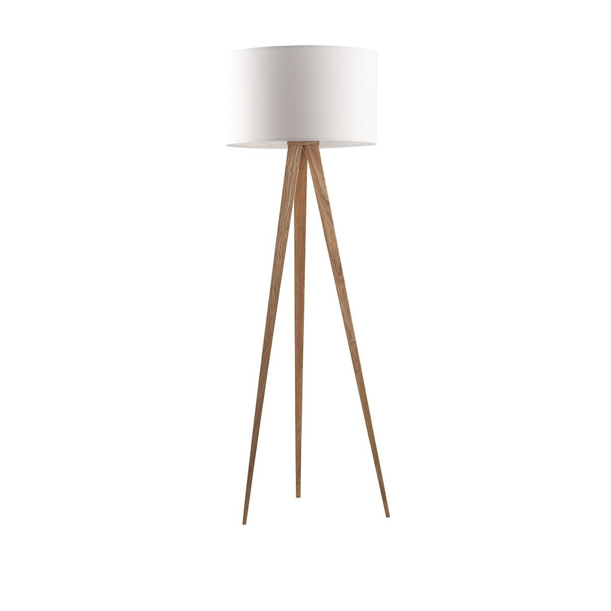 Lampe trpied en bois  Blanc  Dco  Lampe trepied