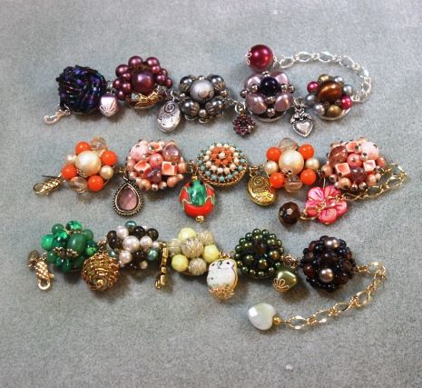 $42 + shipping.  Vintage earrings turned into bracelets for Easter or Spring.