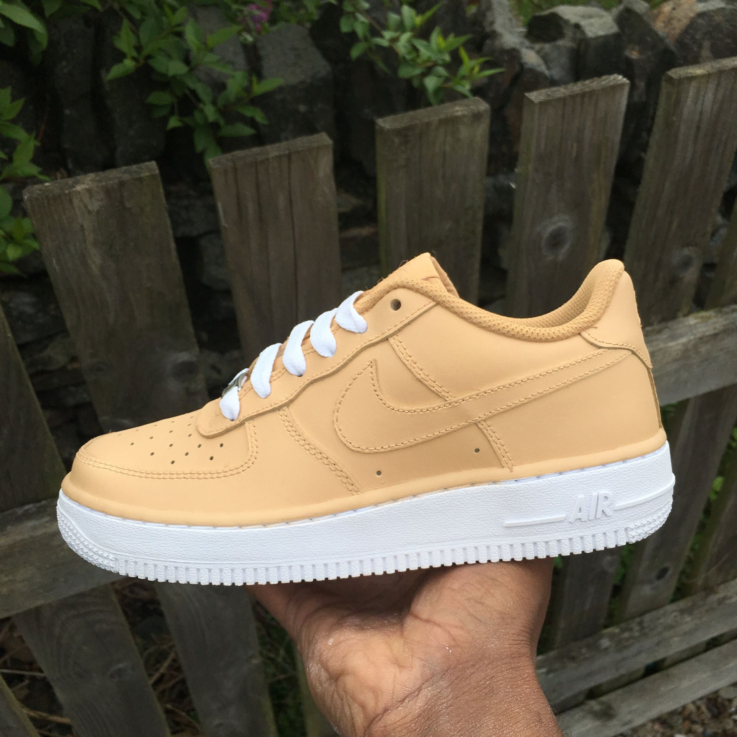 665962a6e81b CUSTOM   Nike Air Force 1 Low - Nude   Tan