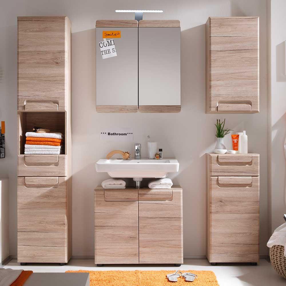 Badezimmer mit 2 waschtischen badmöbel komplettset in eiche san remo mit spiegelschrank teilig