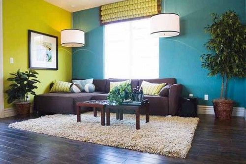 Blue And Green Paint Wall Color For Living Room With Dark Sofa Furniture
