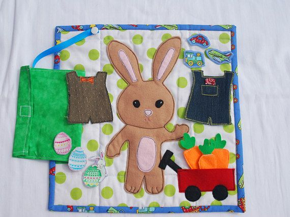 Easter gifts for toddlers little boy bunny quilt felt book dress up easter gifts for toddlers little boy bunny quilt felt book dress up bunny fabric negle Images