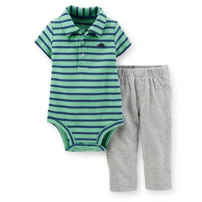 Carter's® 2-Piece Bodysuit and Pant Set in Green/Blue Stripe - buybuyBaby.com