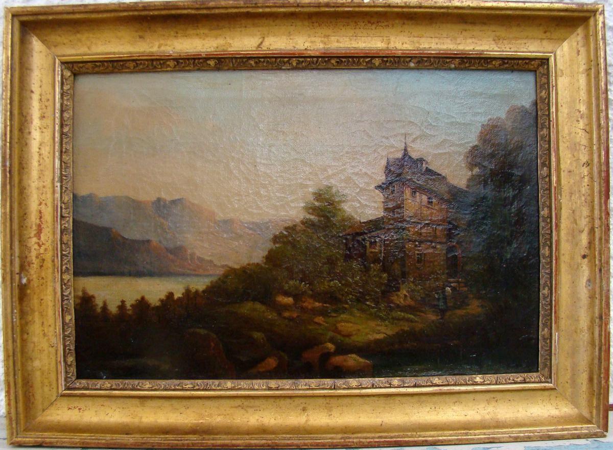 Le Depart De La Maison Du Lac, Ecole Suisse Du 19ème, Huile/toile, ARTE TRES GALLERY, Proantic