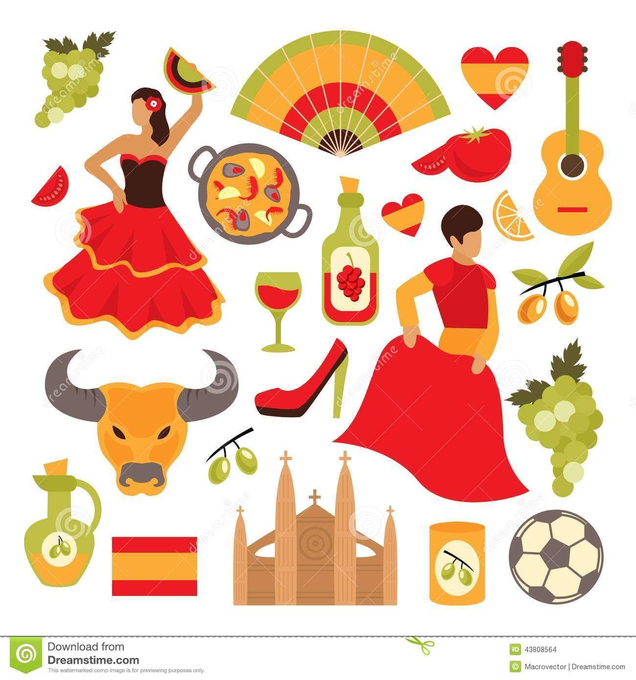 Topicos Spain Icons Set Travel Tourist Attractions Isolated Vector Illustration 43808564 Jpg 1 300 1 390 Pixels Illustration Flamenco Decor Espagnol