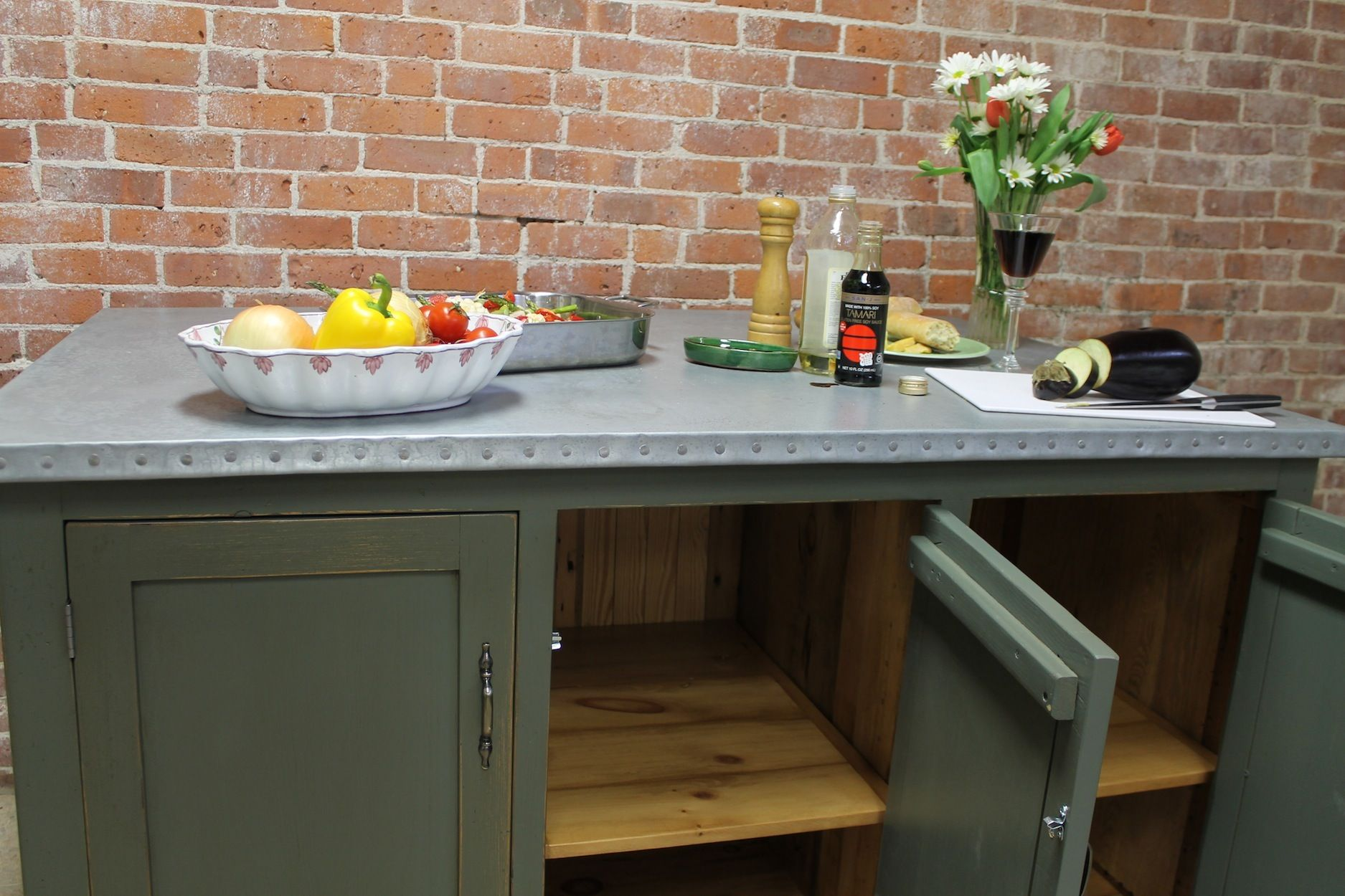 kitchen island with a zinc counter top and built in storage barnwood furniture on kitchen zinc id=57784