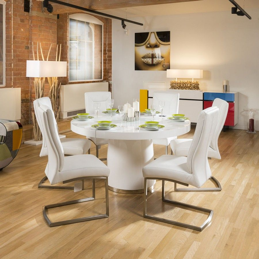 1400mm Round White Gloss Dining Table
