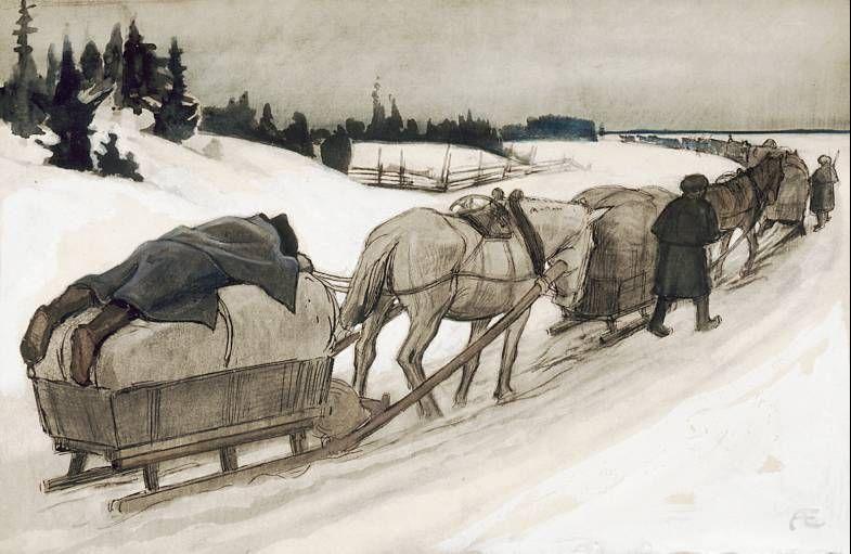 """""""Hepo torkkuin astui, unta veti miesi"""". Vänrikki Stoolin tarinain kuvitusta.Albert Edelfelt1897-1900"""