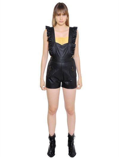 PHILOSOPHY DI LORENZO SERAFINI Ruffled Leather Romper, Black. #philosophydilorenzoserafini #cloth #jumpsuits