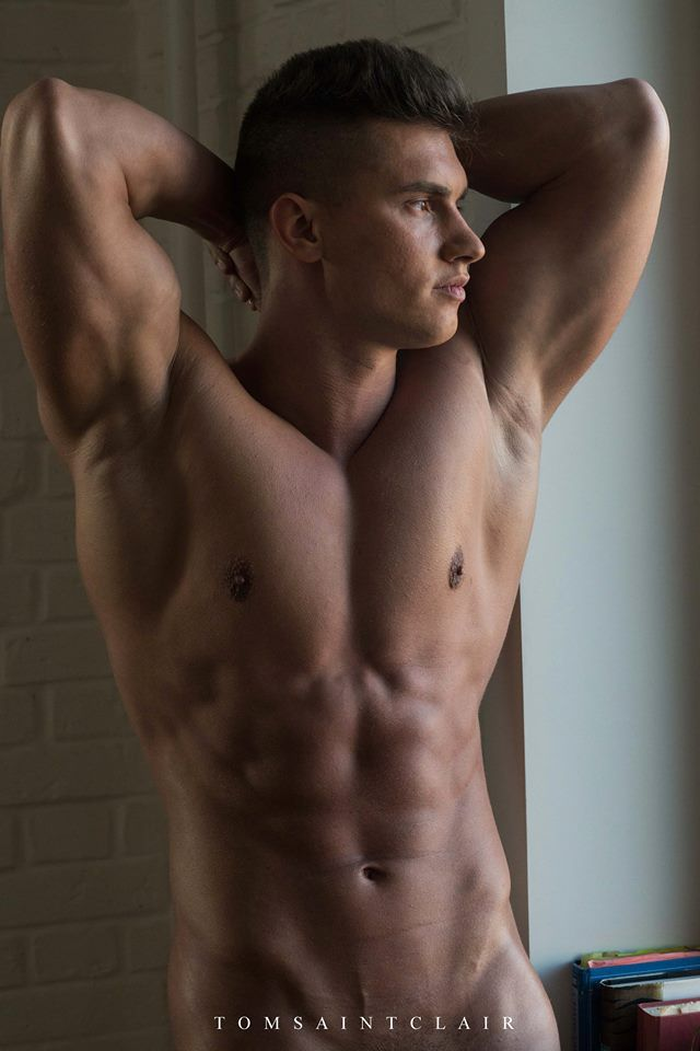 Cute nude muscle boy with hard cock