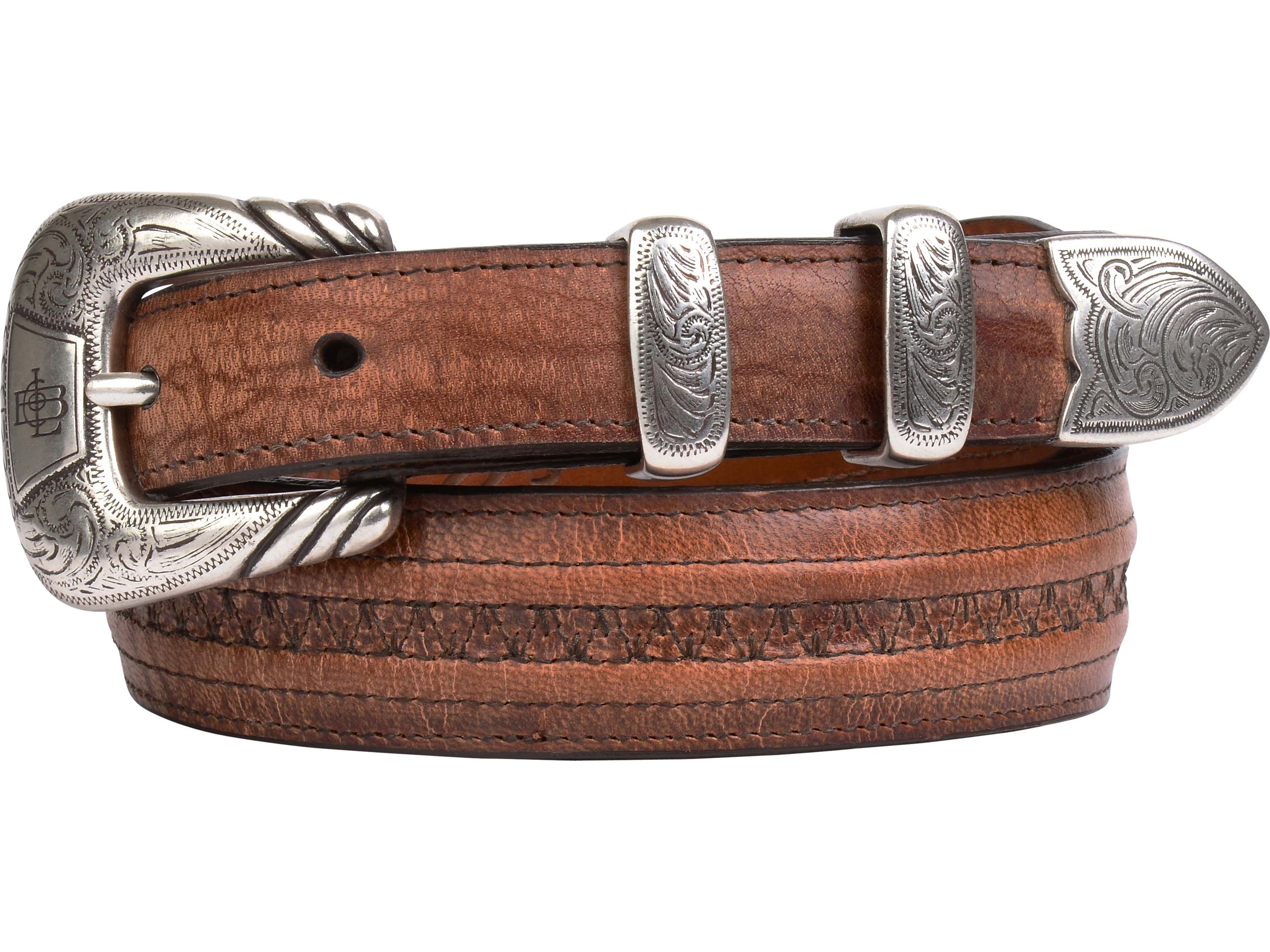 Lucchese Men's Belt | Mad Dog Goat in Tan | Hobby Stitching