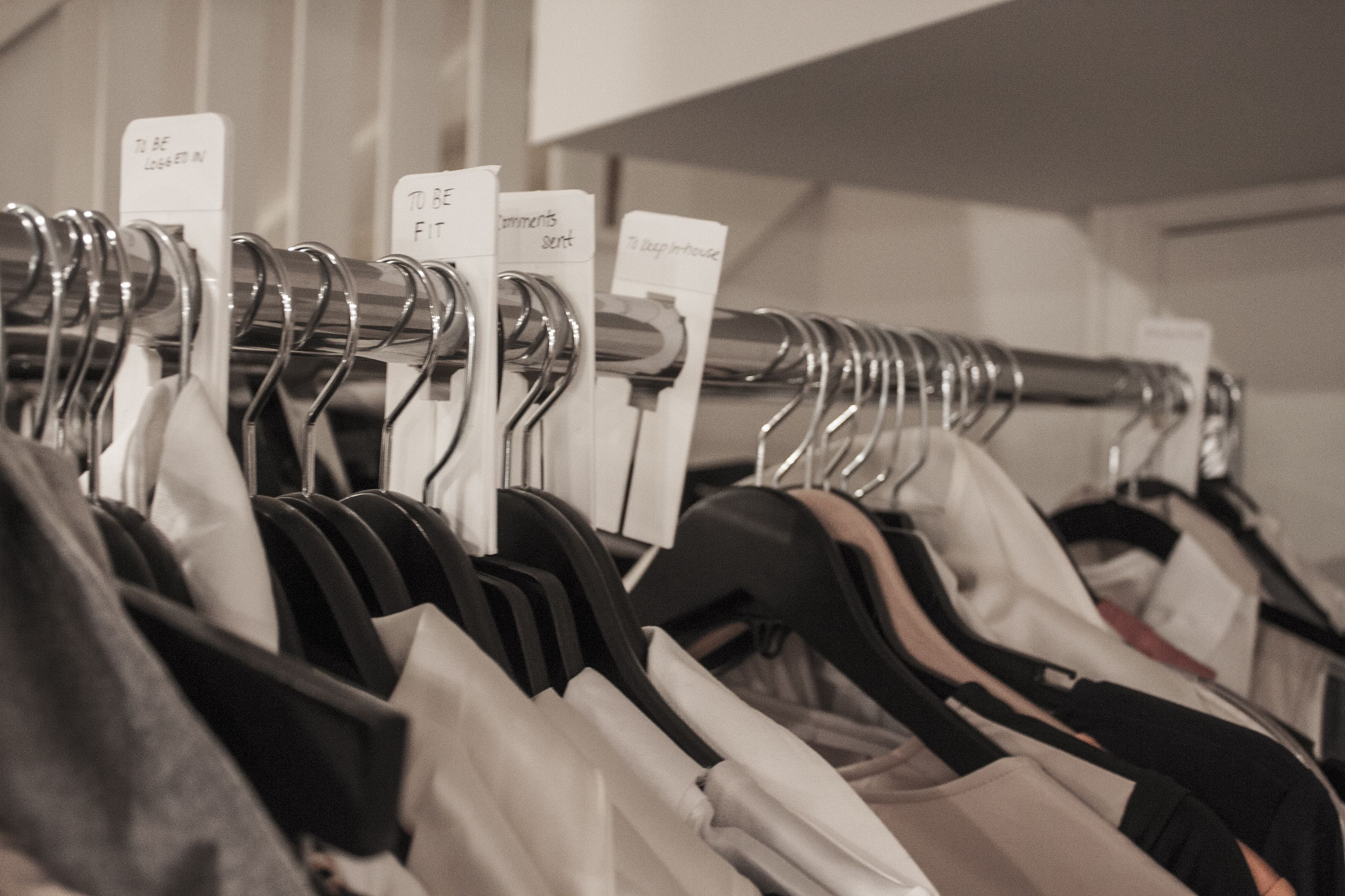 Clothing rack line up for summer fit session clothing racks