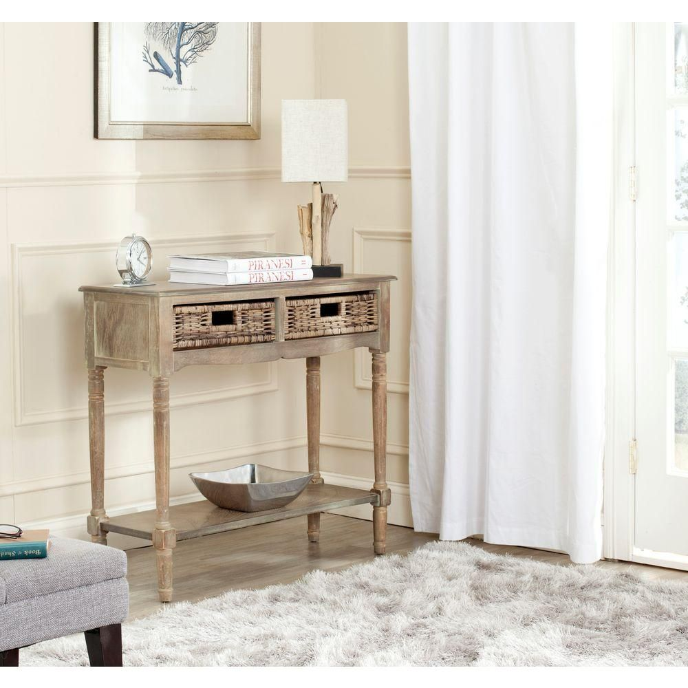 Corbin washed natural pine storage console table natural pine corbin washed natural pine storage console table geotapseo Choice Image