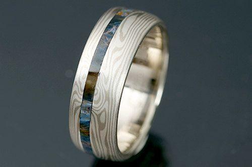 Moé Gane Palladium White Gold Ring With Pietersite Inlay