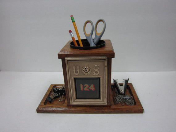 Post office box postal box wood pencil holder home office oak