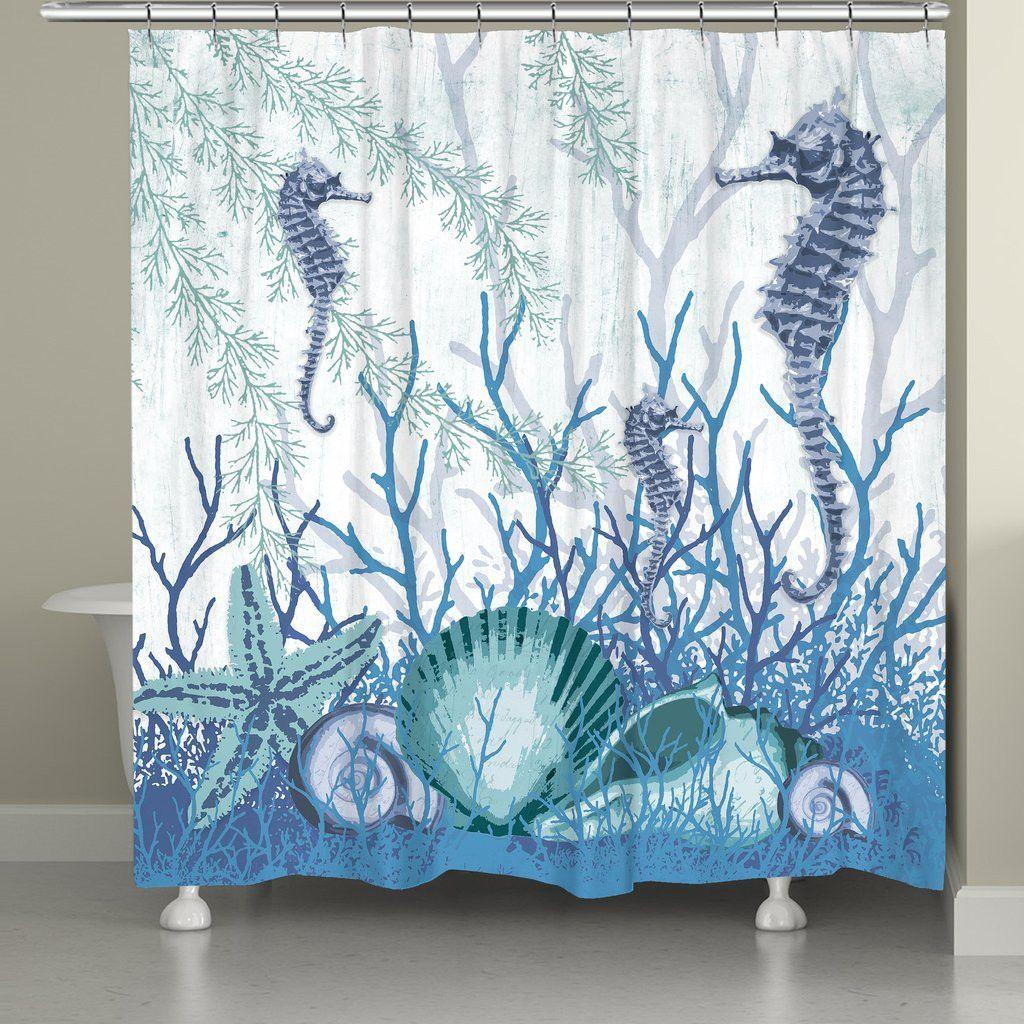 Ocean shower curtains - Aquatic Seahorses And Sea Shells Shower Curtain