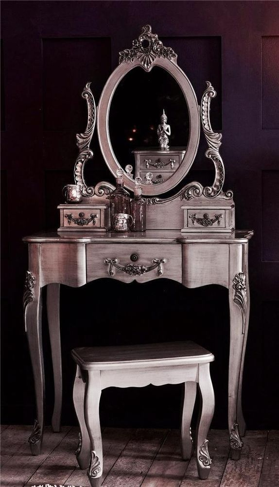 Mirrored Vanity Table And Stool: Antique Silver French Vintage Shabby Chic Dressing Table