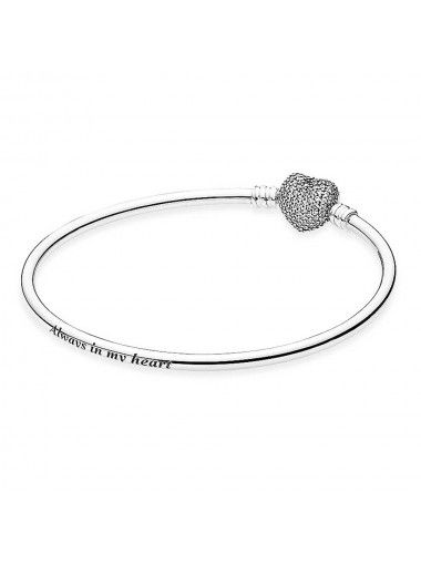 df8d11472 Pandora Silver Cubic Zirconia Heart Clasp Bangle 590722CZ | Pandora ...