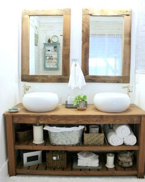 New Rustic Chunky Vanity Sink Unit Washstand Solid Wood Single