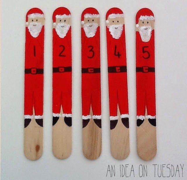 An idea on Tuesday: Santa Pop Sticks