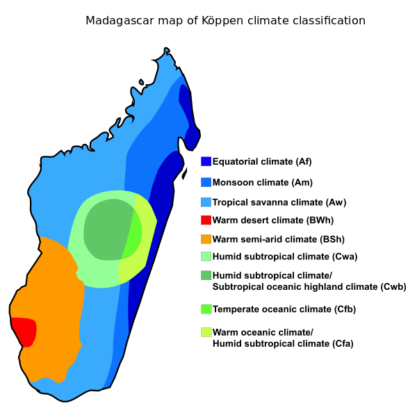 Madagascar map of Kppen climate classification Harti