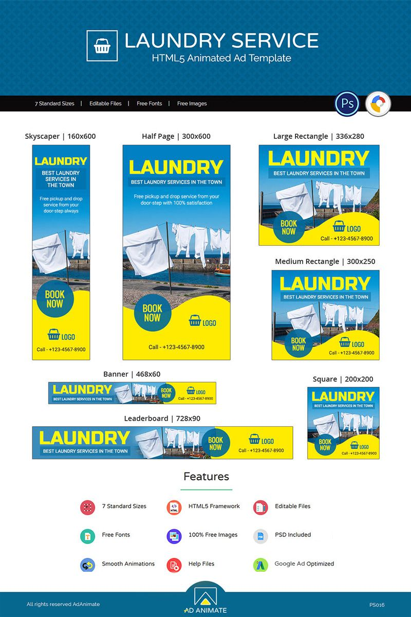 Professional Services Laundry Service Animated Banner Laundry