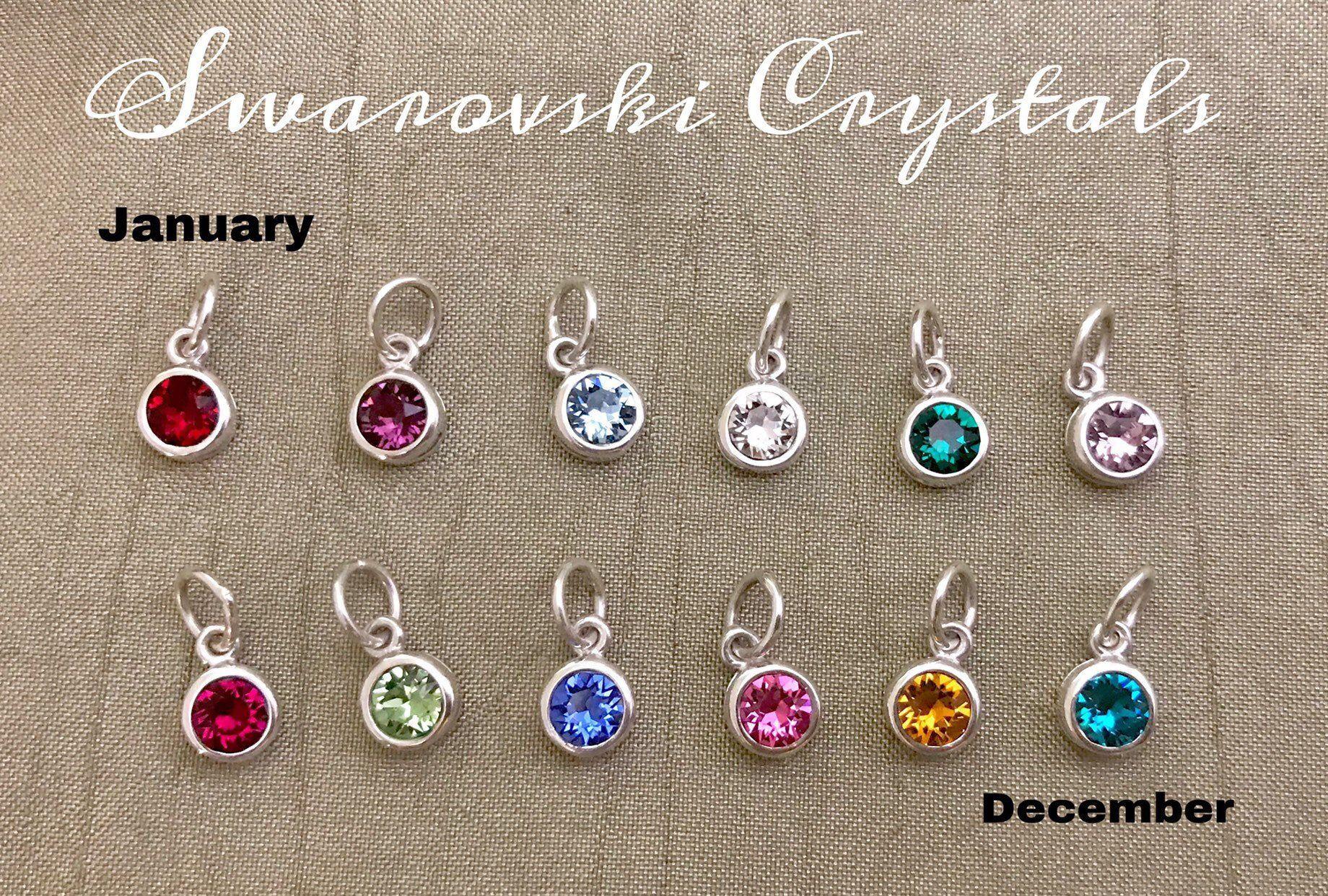 Add A Birthstone 5 5mm Solid Sterling Silver Swarovski Crystal Birthstone Charm Closed Jump Ring Gift Necklace Swarovski Crystals