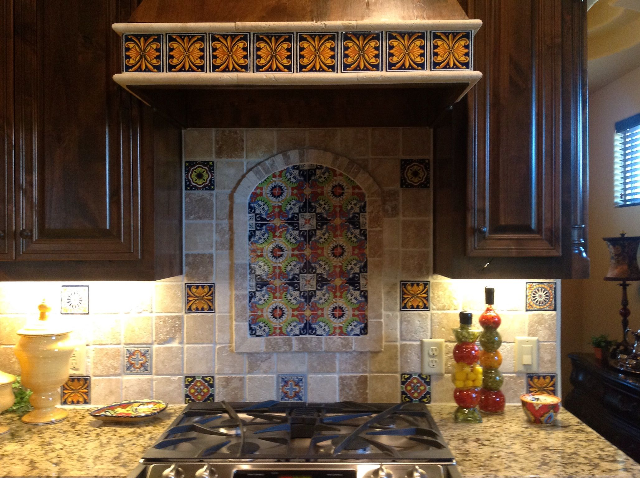 Talavera Backsplash Like Decorative Tiles Interspersed With
