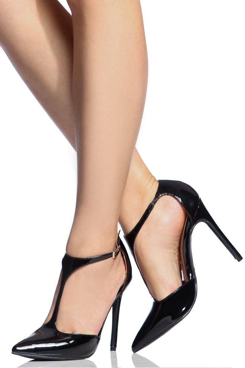 f59b55469b1 Black Faux Patent Leather Pointed Toe T Strap Heels @ Cicihot Heel ...