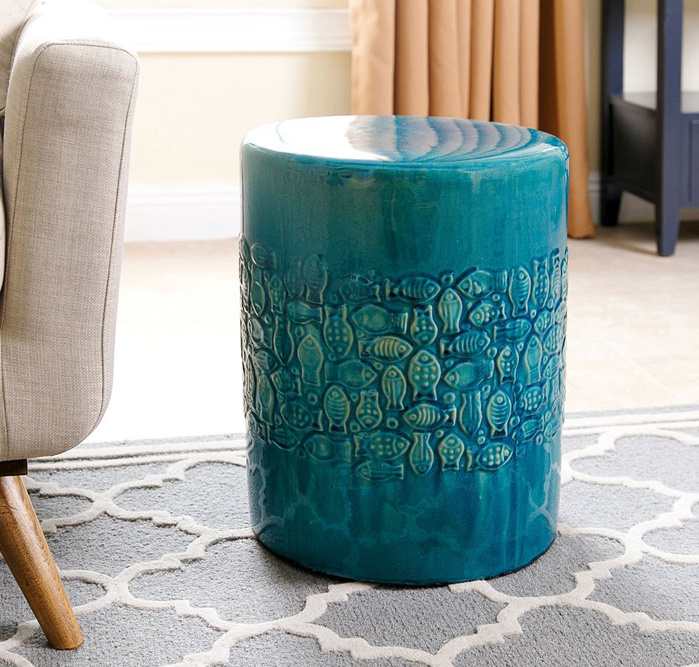Miraculous Abbyson Bali Teal Ceramic Garden Stool Teal Green Creativecarmelina Interior Chair Design Creativecarmelinacom