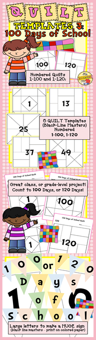 Quilt Templates 100 Days K 3 Math
