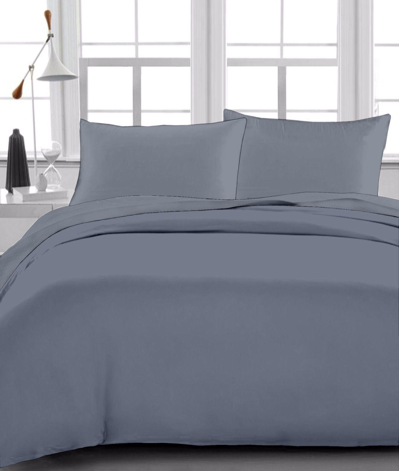 Luxurious Bedding Set White Stripe Pure Egyptian Cotton 1000-TC 15 Inch Drop