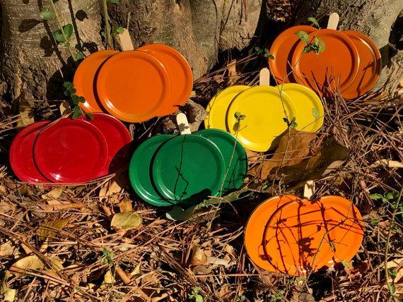 Mason Jar Lid Pumpkin And Le Magnets