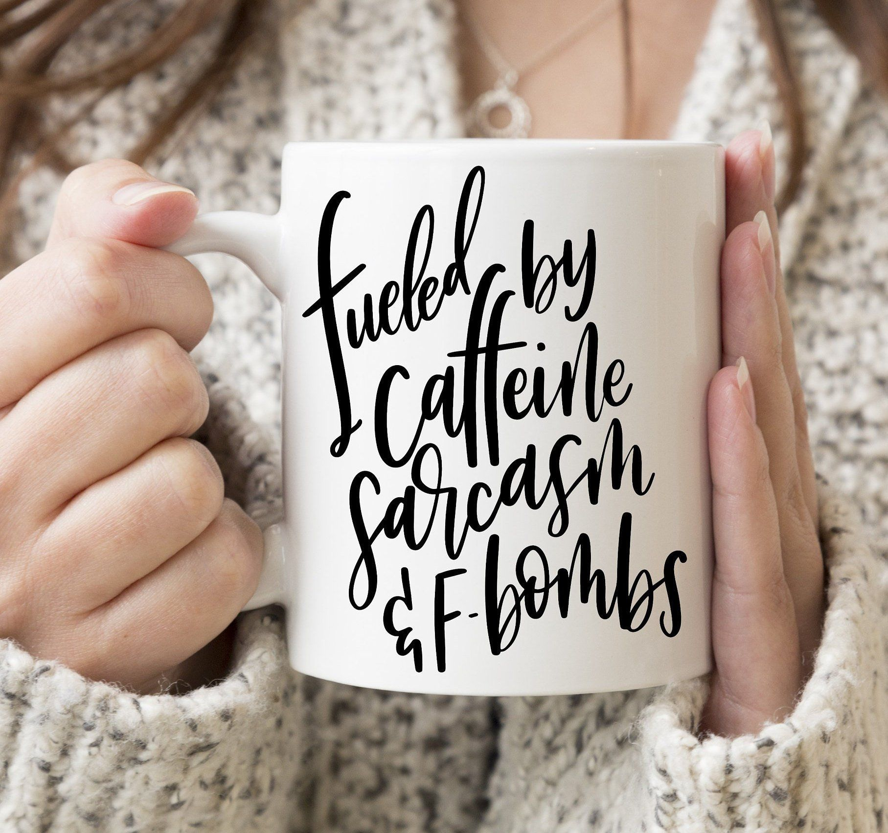 Fueled By Caffeine Sarcasm and FBombs Personalized Coffee