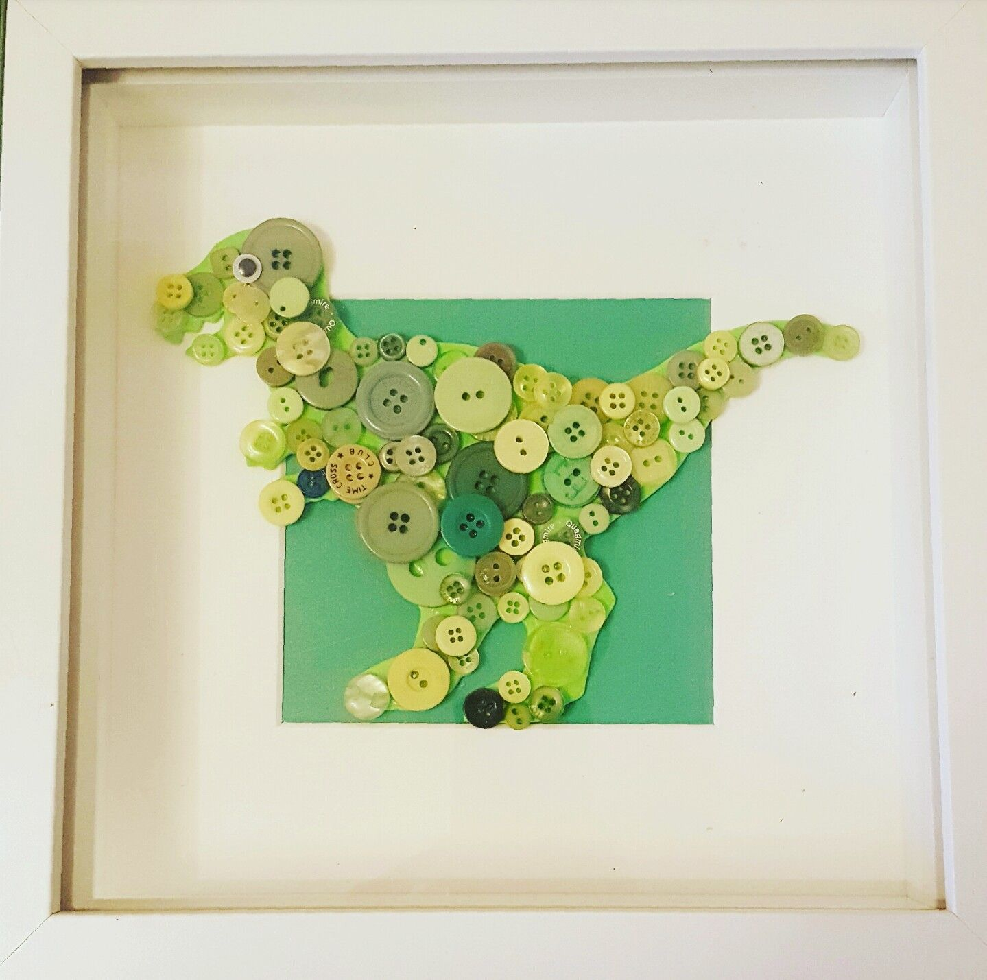 Button Picture Frame, Dinosaur, Green Frame, 3D Dinosaur, Boys Bedroom