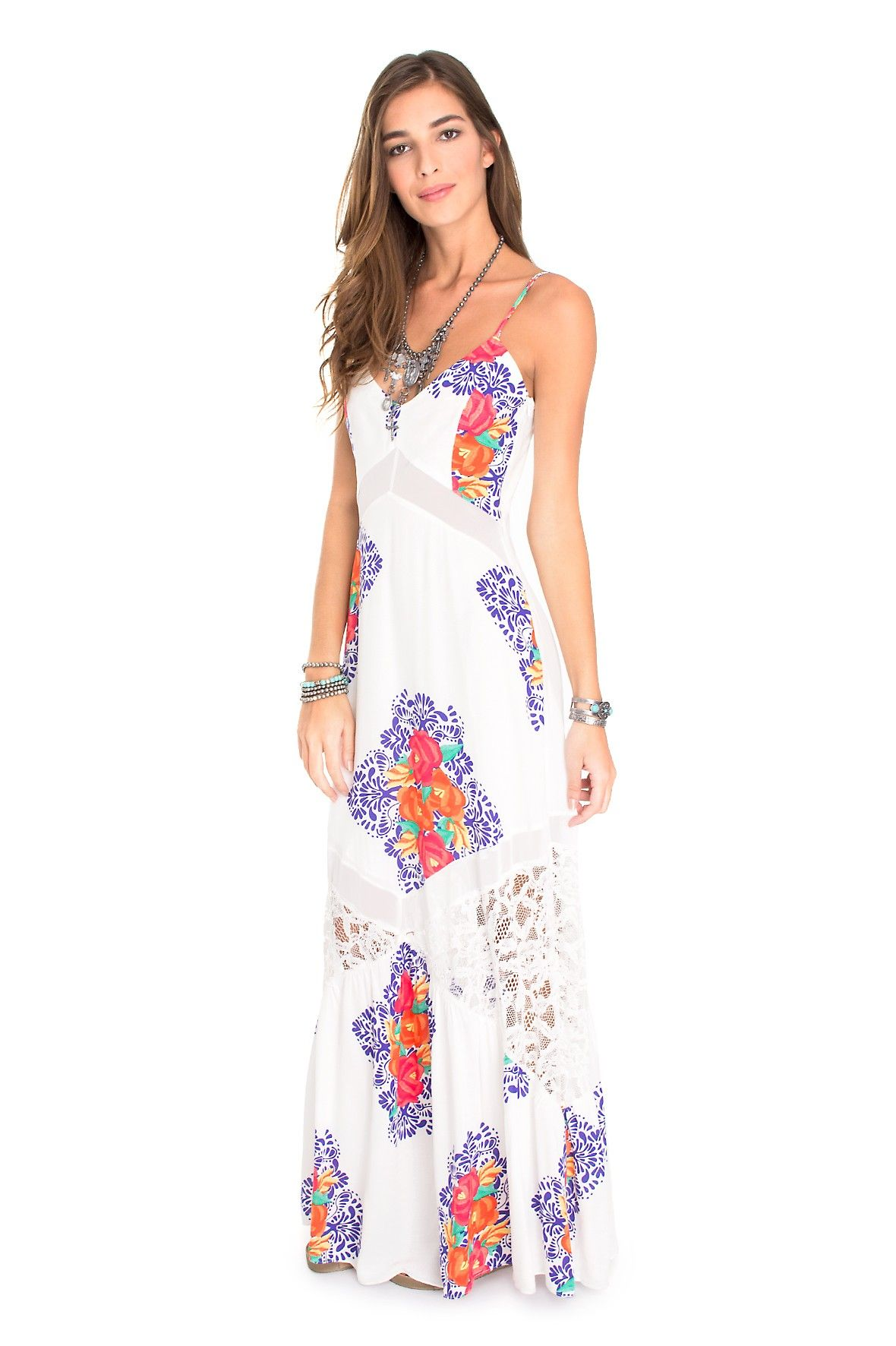 Longo Estampa Vestido Azulejo Floral De Ropa VestidosDress To fmIYg7ybv6