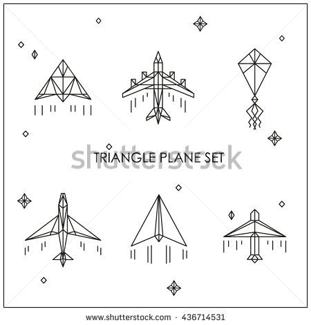 Triangular White Airplane Kite And Paper Plane Origami Triangle