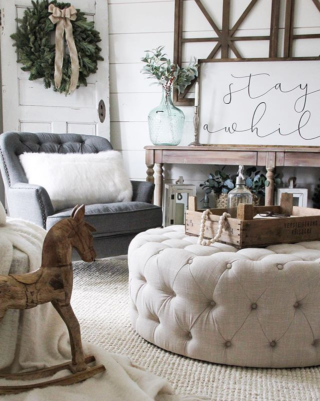 Inspiring Sitting Room Decor Ideas For Inviting And Cozy: Round Tufted Ottoman, SW Alabaster Paint Color, Jute Rug