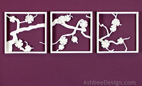 Ashbee Design Apple Blossom Paper Shadow Box Made Using A Silhouette Cameo