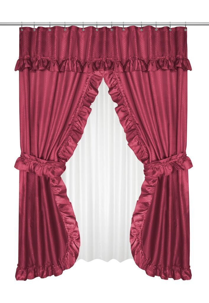 Ruffled Double Swag Shower Curtain With Valance Tie Backs Burgundy