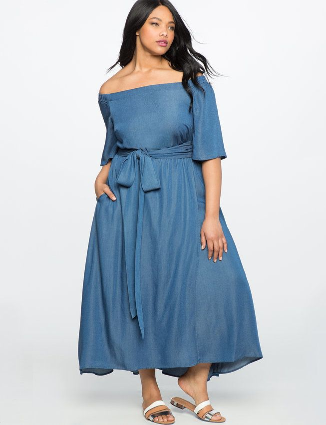Plus Size Off the Shoulder Chambray Dress | Fabulous Full ...