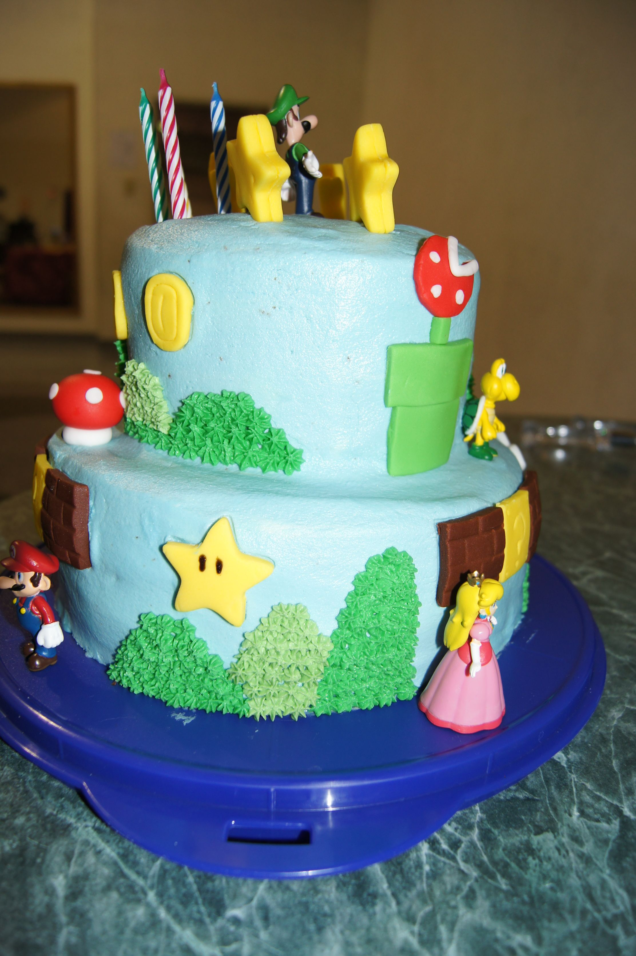 The Mario Bros Cake With Luigi That I Made For Cooper S