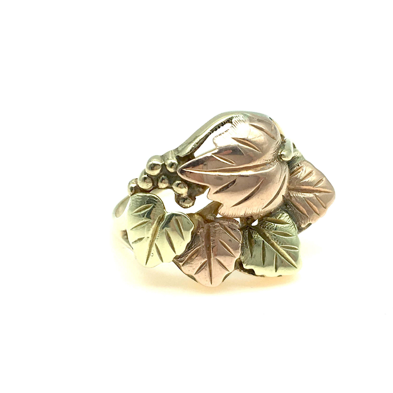 Vintage 14K Black Hills TriColor Gold Leaf Ring Size 6
